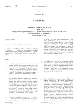 č. 297/2010 z 9. apríla 2010, ktorým sa mení a dopĺňa nariadenie (ES)