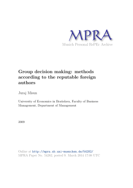 Group decision making: methods according to the reputable foreign
