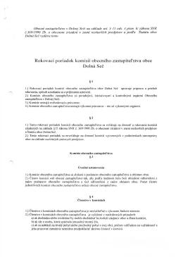 Rokovací poriadok komisií obecného zastupiteľstva obce Dolná Seč