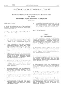 Rozhodnutie vysokej predstaviteľky Únie pre zahraničné veci a