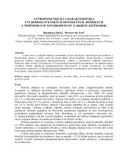antropometrická charakteristika východoslovenských donosených