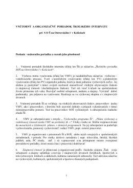 Vnútorný a organizačný poriadok školského internátu (príloha k