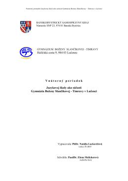 Vnútorný poriadok Jazykovej školy ako súčasti Gymnázia B.S.