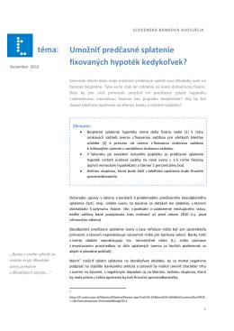 téma: Umožniť predčasné splatenie fixovaných hypoték kedykoľvek?