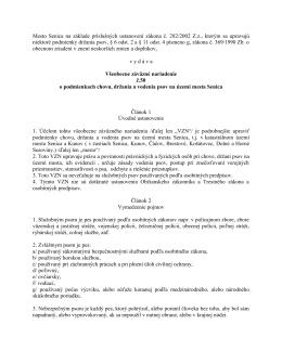 VZN č. 50 o podmienkach chovu, držania a vodenia psov na území