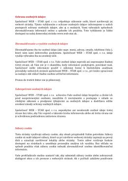Ochrana osobných údajov Spoločnosť WEB – STAR spol. s r.o.