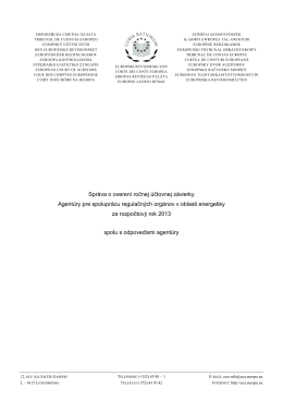 Správa o overení ročnej účtovnej závierky Agentúry pre spoluprácu