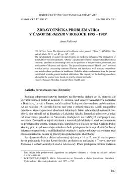 ZDRAvOTníCKA pROBlEmATIKA V časOPise OBZOR V rOkOch 1895 – 19051
