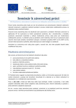 Seminár k záverečnej práci - Modernizácia vzdelávacieho procesu