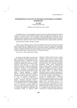 komparatívna analýza slovinsko-slovenskej autorskej rozprávky