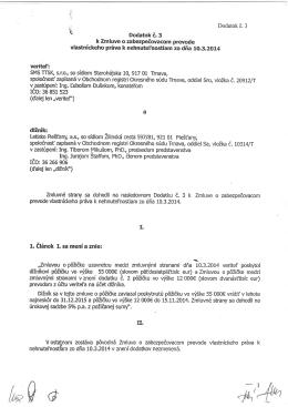 1, il6nok I. sa meni a znie: ,,Zmluvou o p6iidke uzavretou medzi