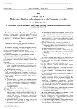 456/2012 Vyhláška Ministerstva školstva, vedy, výskumu a športu