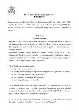 Zásady hospodárenia s finančnými prostriedkami obce Dolný Hričov
