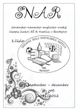 1.číslo - Základná škola Bartolomeja Krpelca BARDEJOV **Vitajte!