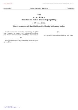 299/2010 Vyhláška Ministerstva vnútra Slovenskej republiky, ktorou