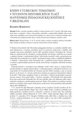 knihy s tureckou tematikou v študovni historických tlačí slovenskej