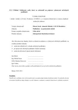 5/2.1 Príklad: Vyhlásenie osôb, ktoré sa zúčastnili na príprave