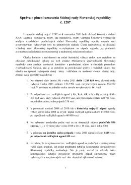 správa o plnení uznesenia č.1287 - Súdna rada Slovenskej republiky