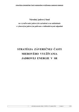 Stratégia záverečnej časti mierového využívania jadrovej energie v SR