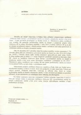 Odpoveď ministra práce sociálnych vecí a rodiny Jána Richtera