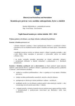 Komisia pre právne veci, sociálne zabezpečenie, bytov a služieb