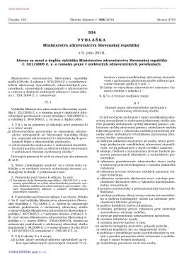 334/2010 Vyhláška Ministerstva zdravotníctva Slovenskej republiky