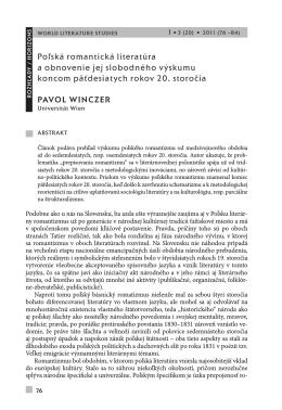 Poľská romantická literatúra a obnovenie jej slobodného výskumu