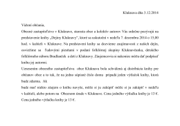 Kluknava dňa 3.12.2014 Vážení občania, Obecné zastupiteľstvo v