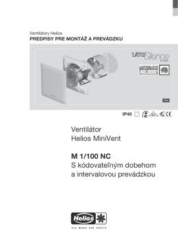 Ventilátor Helios MiniVent M 1/100 NC S kódovateľným dobehom a