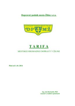 Tarifa platná od 1.10.2014 - Dopravný podnik mesta Žiliny sro