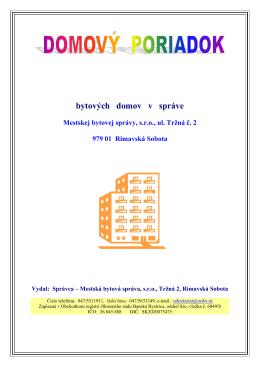bytových domov v správe - Mestská bytová správa sro, Rimavská