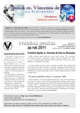 SVdP - výročná správa 2011.indd - Spolok sv. Vincenta de Paul na