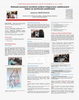 Možnosti prevencie sociálnej izolácie integrovane vzdelávaných
