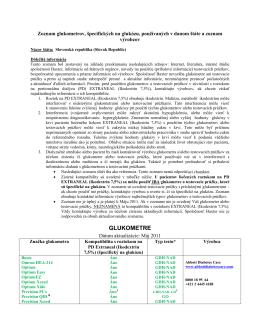 Zoznam glukometrov, špecifických na glukózu, používaných v danej