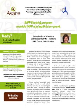 INPP školský program metóda INPP a jej aplikácia v praxi.