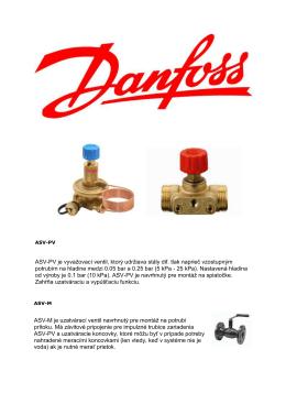 ASV-PV je vyvažovací ventil, ktorý udržiava stály dif. tlak naprieč