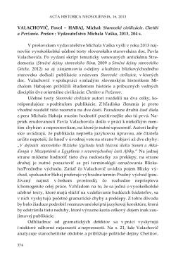 HABAJ, Michal: Staroveké civilizácie. Chetiti a Peržania. Prešov