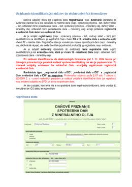 Uvádzanie identifikačných údajov do elektronických formulárov