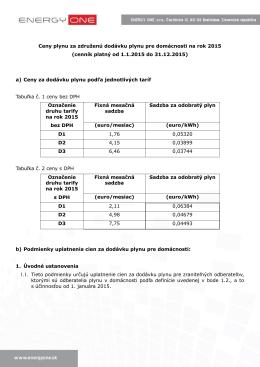 Ceny plynu za združenú dodávku plynu pre domácnosti na rok 2015