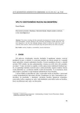 vplyv cestovného ruchu na biosféru - Acta Geographica Universitatis
