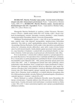 HurbANIč, Martin: Posledná vojna antiky. Avarský útok na Konštan