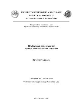 Hodnotové investovanie - Prvý slovenský portál pre diplomové práce