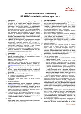 Obchodné dodacie podmienky BRAMAC – strešné systémy, spol. s r.o.