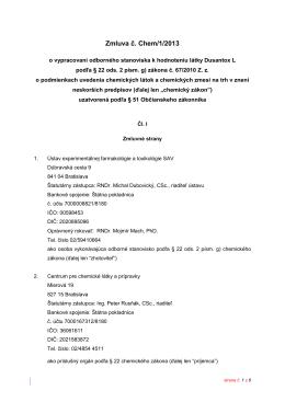 Zmluva č. Chem/1/2013 - Centrum pre chemické látky a prípravky