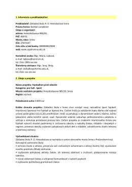 1. Informácie o predkladateľovi Predkladateľ: Základná škola PO