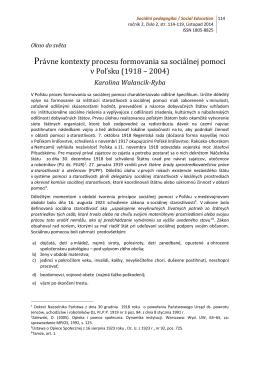 Právne kontexty procesu formovania sa sociálnej pomoci v Poľsku