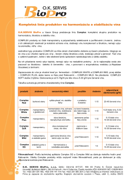 Kompletná línia produktov na harmonizáciu a stabilizáciu vína