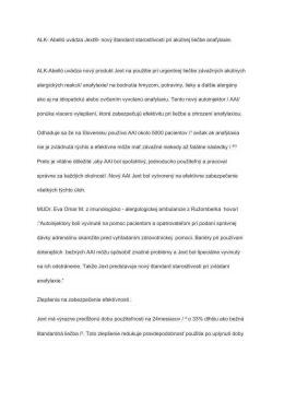 ALK- Abelló uvádza Jext®- nový štandard starostlivosti pri akútnej