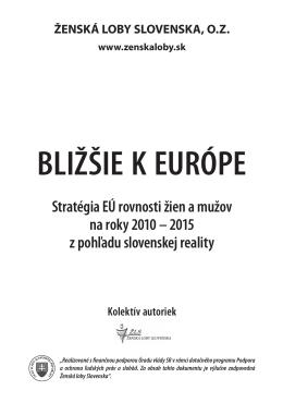 Stratégia EÚ rovnosti žien a mužov na roky 2010 – 2015 z pohľadu