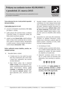 Pokyny na zadanie testov KLOKANKO 1 v pondelok 23. marca 2015